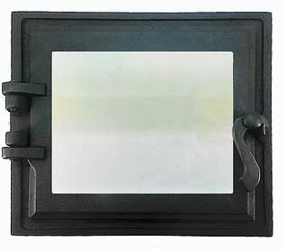 Топкові дверцята для печі і каміна зі склом 330х360 мм, чавунна грубна, камінна дверцята 102867