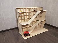 Большая многоуровневая деревянная парковка, гараж для машинок на 56 мест