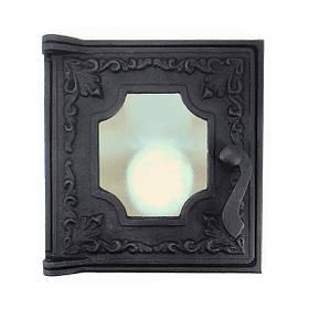 Топочная дверца для печи со стеклом 285х270 мм, чугунная печная дверка 102872