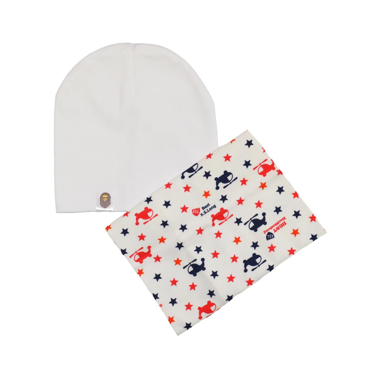 Комплект шапка и шарф хомут с рисунком для детей