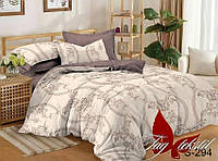 Двуспальный комплект постельного белья с компаньоном из сатина (пододеяльник 180х220) S-294д
