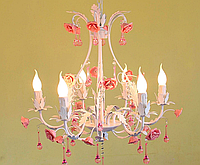 Люстра-канделябр 6 рожков Е14, с розами