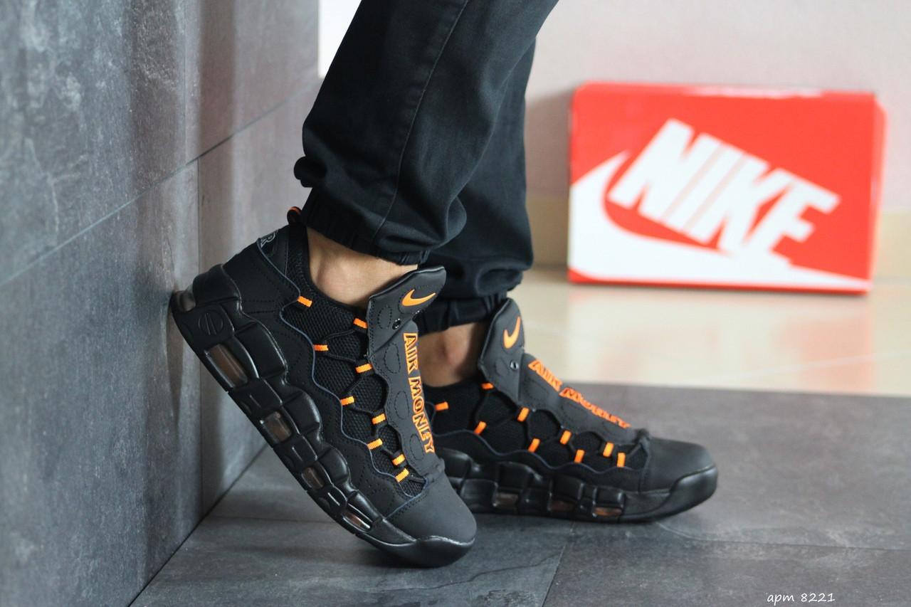 Мужские кроссовки Nike Air More Money (черно-оранжевые)
