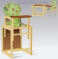 Стул для кормления деревянный 2 в 1 трансформер Бабочки салатовый