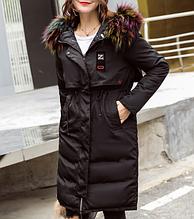 Куртка зимняя пуховик женская двусторонняя черная