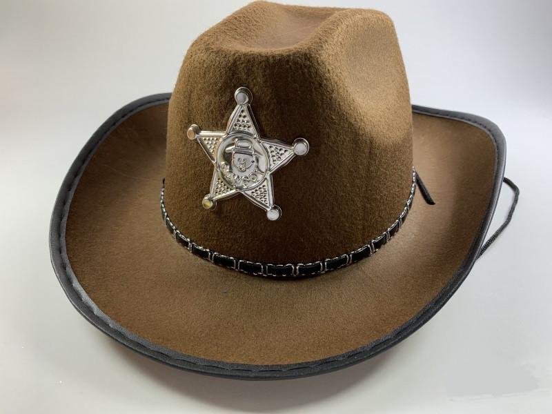 Шляпа шерифа детская темно-коричневая