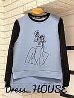 Свитшот стильный женский свободного кроя с асимметричным низом яркие цвета Sssa418