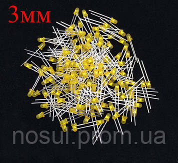 3мм желтый LED светодиод 20mA