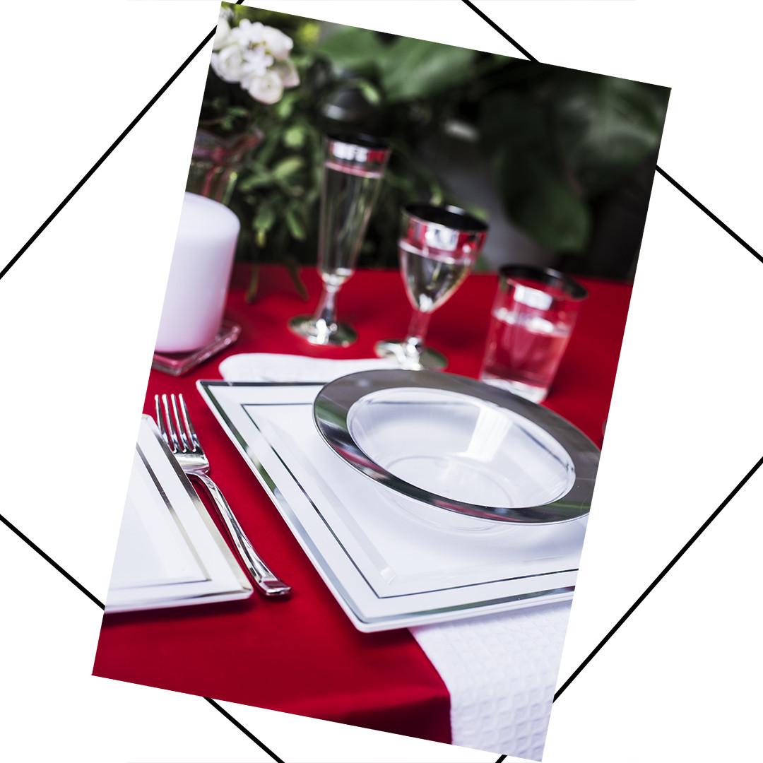 Бокалы одноразовые винные элитные для корпоротивов, event. Полная сервировка стола.  CFP 6 шт 130 мл