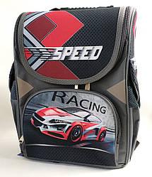 Школьный каркасный рюкзак Speed Racing для мальчиков черный с красным набор пенал + сумка 3в1