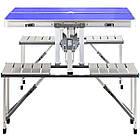 Алюминиевый стол для пикника раскладной со 4 стульями Folding Table 85х67х67 см (Синий), фото 2