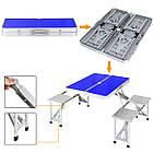 Алюминиевый стол для пикника раскладной со 4 стульями Folding Table 85х67х67 см (Синий), фото 6