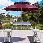 Алюминиевый стол для пикника раскладной со 4 стульями Folding Table 85х67х67 см (Синий), фото 8