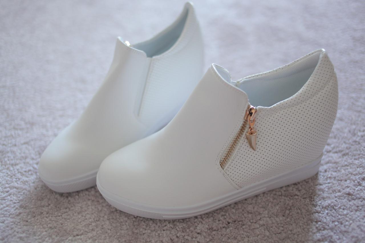 Женские кроссовки сникерсы молния золотая белые перфорация 37-41