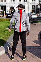 Мужской стильный молодежный спортивный костюм светло серый