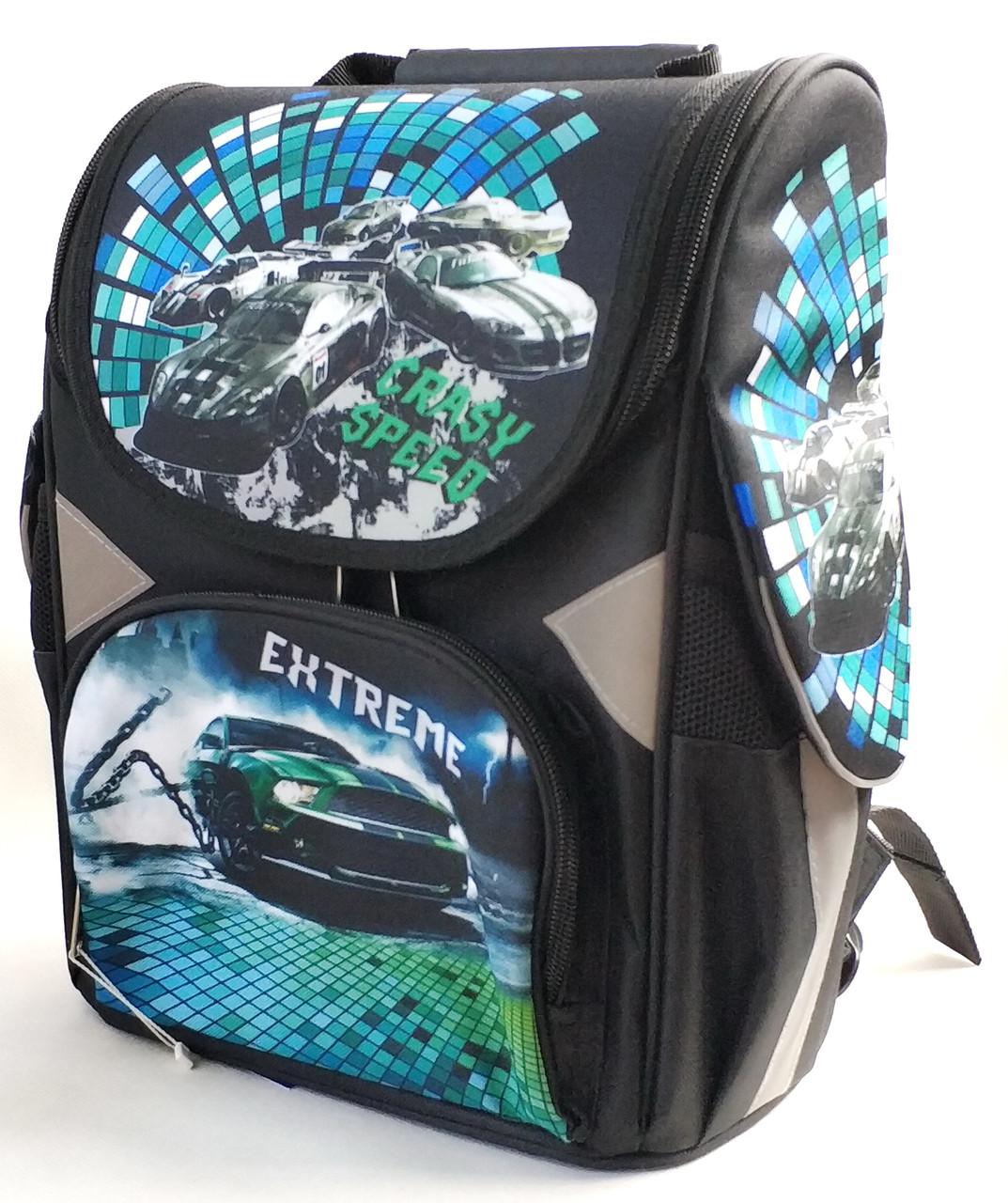 Школьный каркасный рюкзак Extreme для мальчиков черный с синим + пенал 2в1
