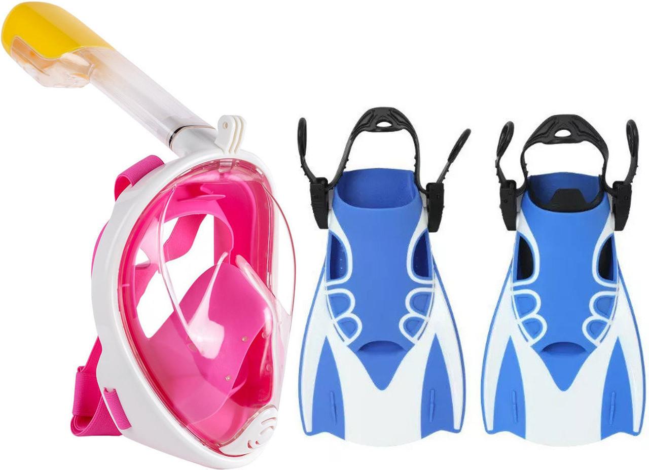 Набор для плавания 2 в 1 (маска FREE BREATH M2068G + ласты) Розовая маска (размер L/XL) Ласты синие (размер L)