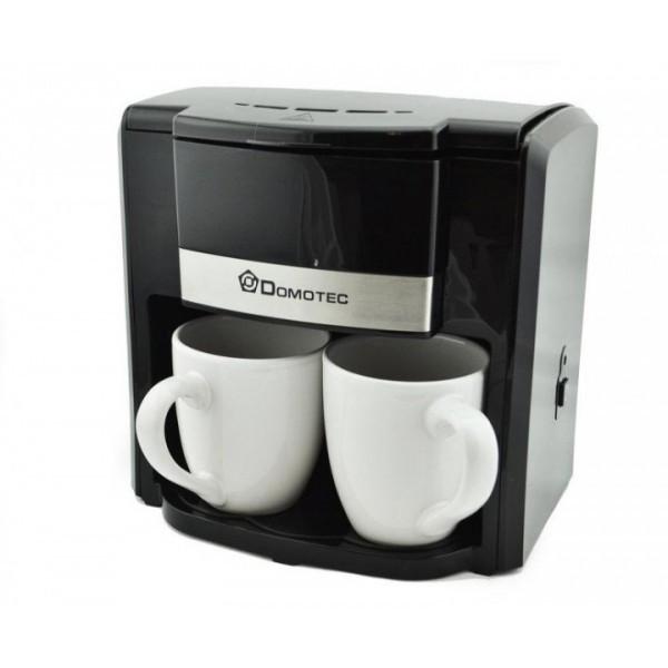 Капельная кофеварка DOMOTEC MS-0708 c керамическими чашками чёрная (45111)
