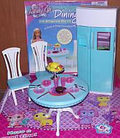 Мебель для кукол Gloria Глория 2812 Модная столовая Барби с холодильником
