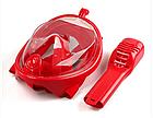 Набор для плавания 2 в 1 (маска FREE BREATH SJLH-02 + ласты) Красная маска (размер S/M) Ласты синие (размер L), фото 5