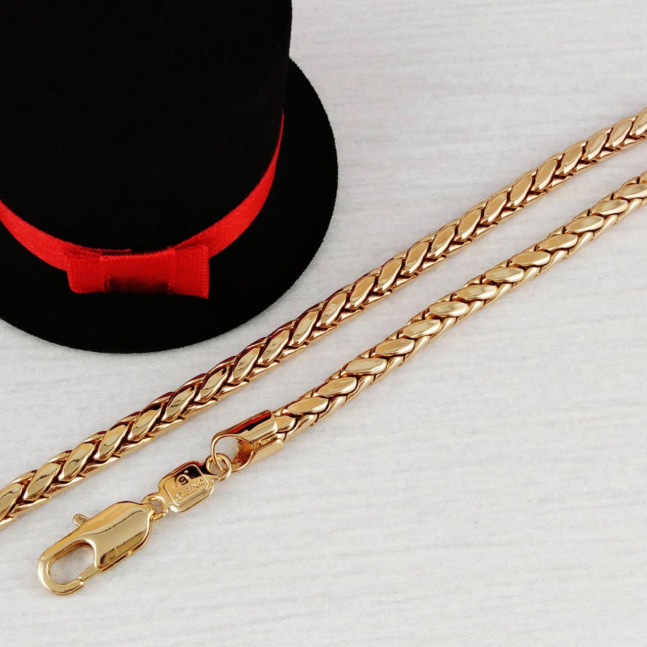 """Браслет Xuping Jewelry 20 см х 4,5 мм """"Плетение Колос"""" медицинское золото, позолота 18К. А/В 3877"""
