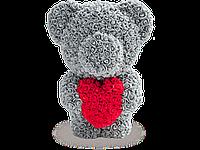 Мишка из 3D Роз серый с красным сердечком 60 см.