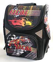 Школьный каркасный рюкзак Racing для мальчиков черный с синим + сумка для сменной обуви 2в1