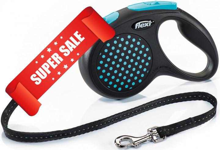 Поводок-рулетка Flexi Design M, 5 м, трос, синий