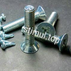 Винт потайная головка 4х10 мм (1000 штук/упаковка) DIN 965 / Винт с потайной головкой / Крестообразный шлиц