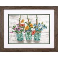 Набор для вышивания Dimensions 70-35378 Flowering Jars Cross Stitch Kit
