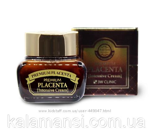 Антивозрастной крем для лица с плацентой 3W CLINIC, Premium Placenta Intensive Cream, 50 мл.