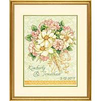 Набор для вышивания свадебной метрики Dimensions 70-35275 Wedding Record Bouquet Cross Stitch Kit