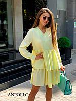 Женское лёгкое и удобное платье свободного кроя с двойной юбочкой