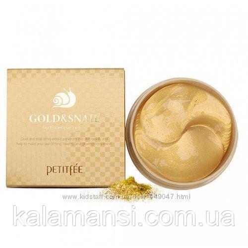 Гидрогелевые патчи с золотом и секретом улитки PETITFEE Gold Snail Eye Patch