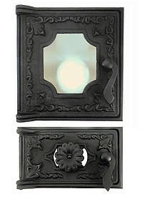 Дверцы для печи со стеклом 270х285 мм, дверка печная чугунная 102872К с регулировкой подачи воздуха