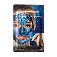 Маска плёнка с коллагеном гиалур. кислотой пудрой аметиста и алмаза Purederm, Galaxy Diamond Glitter Blue Mask