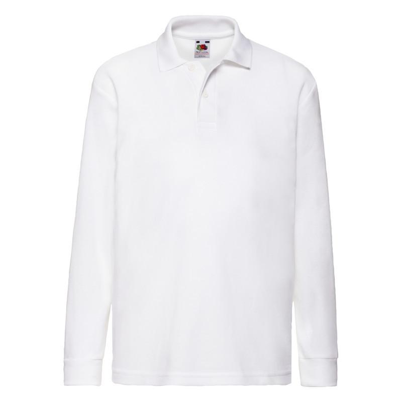 Детская рубашка поло Kids 65/35 Long sleeve Polo (Цвет: Белый; Размер: 12-13)