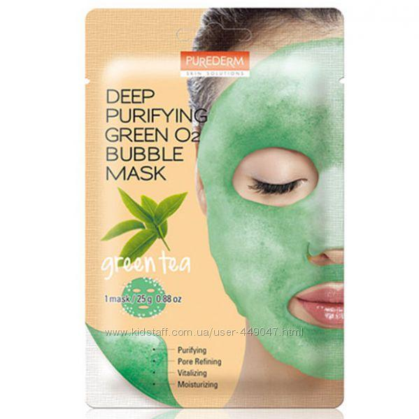 Киснева маска зеленим чаєм Purederm Deep Purifying Green Tea O2 Bubble Mask