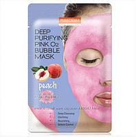 Кислород тканевая маска с персиком Purederm Deep Purifying Pink O2 Bubble Mask Peach