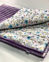 Плед в кроватку/коляску, цвет лиловый с белым