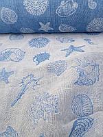 """Льняная двухсторонняя ткань """"Море"""" (шир. 166 см)"""