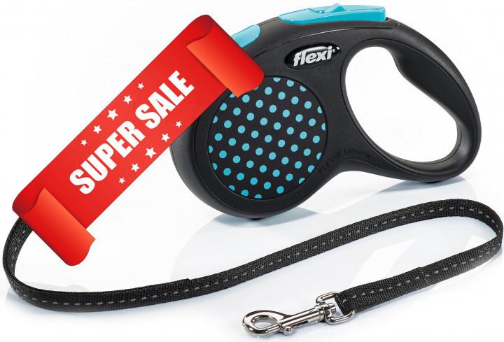 Поводок-рулетка Flexi Design S, 5 м, трос, синий