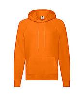 Мужская легкая толстовка с капюшоном оранжевая 140-44