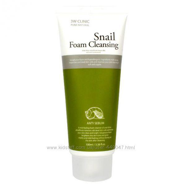 Очищающая пенка с фильтратом улиточной слизи 3W Clinic Snail Foam 100м