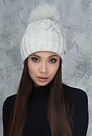 Вязаная женская шапочка Гламур светло-серая