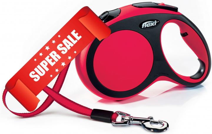 Поводок-рулетка Flexi New Comfort L, 5 м, лента, красный