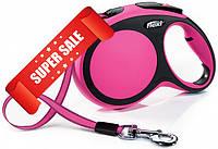 Поводок-рулетка Flexi New Comfort L, 8 м, лента, розовый