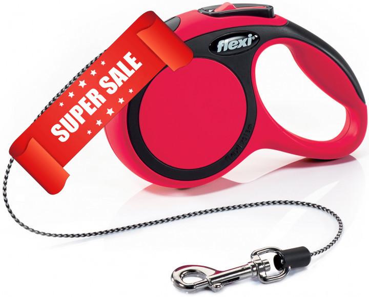 Поводок-рулетка Flexi New Comfort XS, 3 м, трос, красный