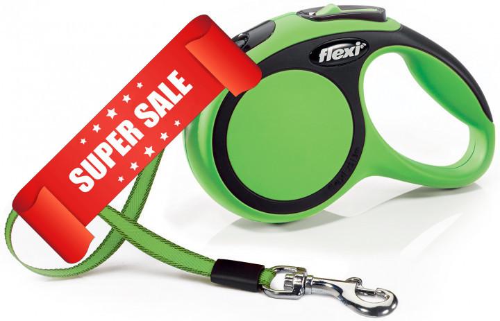Поводок-рулетка Flexi New Comfort XS, 3 м, лента, зеленый
