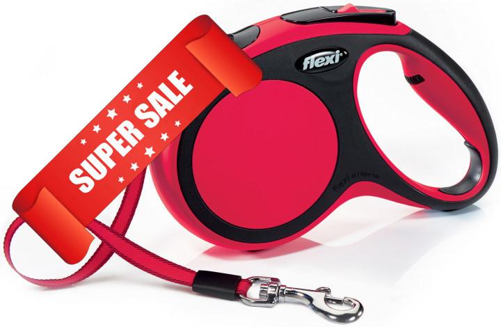 Поводок-рулетка Flexi New Comfort M, 5 м, лента, красный